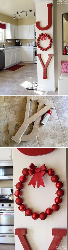 30 Festive JOY Christmas DIY Decorations 2019 this is neat simply little punches of colour Giant 'JOY' Holiday Wall Letters. The post 30 Festive JOY Christmas DIY Decorations 2019 appeared first on Holiday ideas. Christmas 2017, All Things Christmas, Winter Christmas, Christmas Wreaths, Christmas Ornaments, Rustic Christmas, Christmas Vacation, Merry Christmas, Christmas Villages