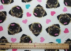 SO cute!!!! Pug faces and hearts....what else do you need? ;) This fabric is cotton flannel