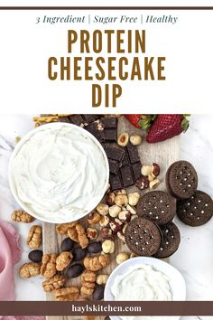 A truly easy and healthy Protein Cheesecake Dip with Greek Yogurt and protein powder, but no powdered sugar! 3 ingredient cheesecake dip is like a deconstructed cheesecake and a perfect protein powder fruit dip for dessert. 3 Ingredient Cheesecake, Protein Cheesecake, Protein Fruit, Protein Desserts, Cheesecake Desserts, Healthy Protein, Small Food Processor, Food Processor Recipes, Snack Recipes