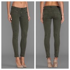 """Adriano Goldschmied The Moto Zipper Legging In like new condition. The color being sold is the 2nd-4th photos, first photo is the same leggings in a different color. Marked as a size 31 but would better fit a size 29/30. Measurements: waist-16"""", rise-8.5"""", inseam-27.5"""" {all taken while lying flat}. Such comfy and flattering leggings! They feel like butter on your legs  Smoke/pet free home, ask all questions before buying No trades❌ These retail for $250 and are sold out so lowball offers are…"""