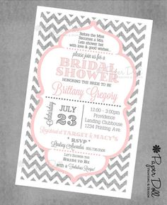Grey Chevron and Pink - Bridal Shower Invitations - Printed or Digital Download