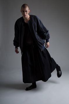 Hed Mayner Men's Bomber Jacket. Vintage Dior Homme Tank and Yohji Yamamoto Skirt. Designer Clothing Dark Minimal Street Style Fashion