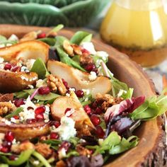 The most epic fall salad ever. Bourbon Roasted Pears with Gorgonzola and Candied Walnuts topped with an apple cider vinaigrette.