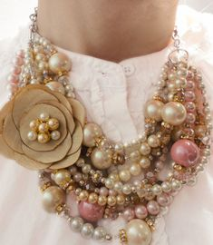 CLASSIC, Statement Necklace, Ivory, White, Pink, Pearls, Vintage, Sparkle, Statement, Bold, Chunky, Crystals, Jewelry by Jessica Theresa