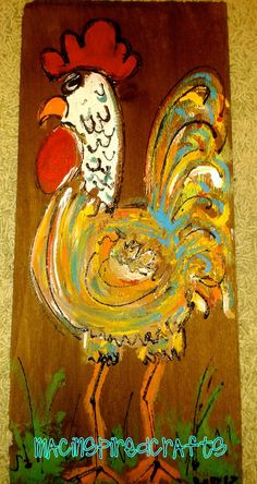 Folk Art Rooster by MACInspiredCrafts on Etsy, $12.00