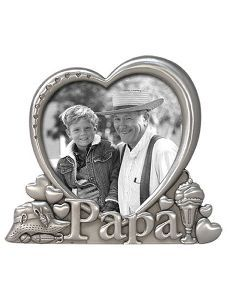 3x3 papa picture frame heart pewter