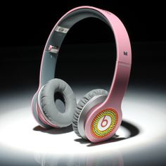 Beats By Dre Solo HD High Definition On-Ear Headphones Pink With Colorful Diamonds $129.90