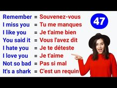 Les phrases pour améliorer votre anglais ✪ Phrases to improve your English ● Test #47 - YouTube French Words Quotes, Basic French Words, French Phrases, How To Speak French, Learn French, French Language Lessons, French Lessons, English Lessons, French Practice