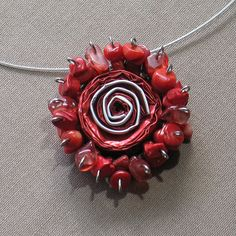 Red Coral Statement Necklace Flower Rose Pendant by aniesjewelry