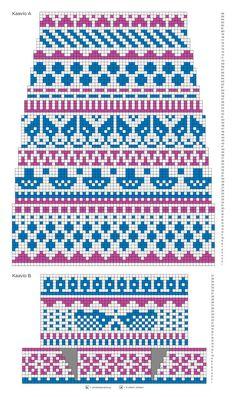 kuva Fair Isle Knitting Patterns, Knitting Charts, Knitting Stitches, Knitting Socks, Knit Patterns, Free Knitting, Cross Stitch Borders, Cross Stitch Patterns, Crochet Chart