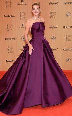 Heidi Klum played the plum princess in voluminous Zac Posen at the Bambi Awards