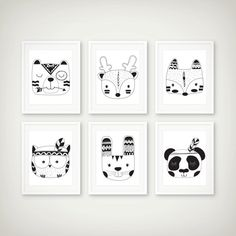 Woodland Tribal Black & White Art Print Set of 6 - Woodland Decor - Tribal Art - Minimal Art - Set of 6 Prints Nursery Wall Decals, Nursery Prints, Nursery Art, Art Blanc, Monochrome Nursery, Art Tribal, Woodland Decor, Woodland Nursery, Make Up Art