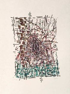 "Jean Paul Riopelle, Clocher caché, 1985-1989,  Lithographie, 31"" x 23"""