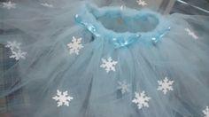 Saia Ballet Frozen Elsa - Tule, Fita de Cetim e EVA.