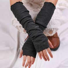Pair of Chic Pure Color Knitted Fingerless Gloves For Women
