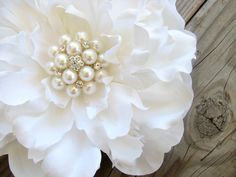 Bridal White Peony Flower Hair Clip with a Large Cluster of Pearls and Rhinestones. $26.99, via Etsy.