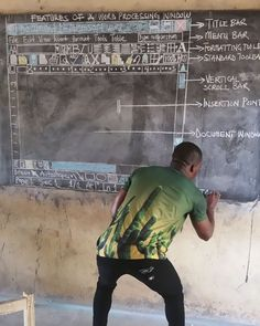 Teacher In Ghana Teaches 'MS Word' On Chalkboard, And You Have To See It From Up Close To Really Appreciate It | Bored Panda