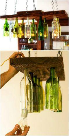 Rustic Chandelier -- Great Idea -- Better Start Drinking Wine Now.. .Need Some New Lighting Ideas