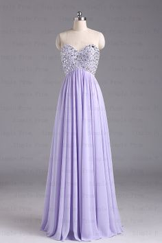A-line Sweetheart Floor-length Sleeveless Purple Chiffon Long Prom Dress Bridesmaid Dress Evening Dress Party Dress 2013 With Beading $124.00