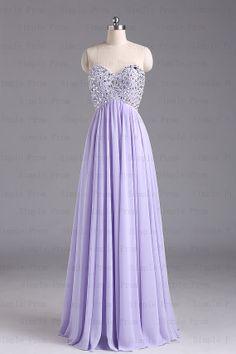 A-line Sweetheart Floor-length Sleeveless Purple Chiffon Long Prom Dress Bridesmaid Dress Evening Dress Party Dress 2013 With Beading $124.00