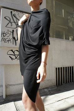 Now DHL Shipping / No Additional Fees / Black Sexy Top / Asymmetrical Short Sleeve Drape Tunic / Spring Blouse
