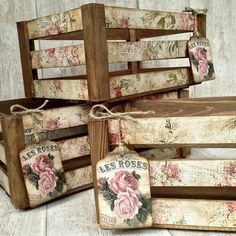 Decoupage-Shabby Chic-Vintage and more Decoupage technology . infinite possibilities and variants f Decoupage Vintage, Decoupage Art, Decoupage Ideas, How To Decoupage Wood, Shabby Vintage, Decopage Wood, Napkin Decoupage, Crate Crafts, Wooden Crafts