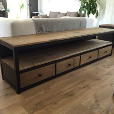 Cabinet Tv 4 drawers, matte black steel and wood color of aged oak. Dimensions: length: Width: Height: 45 cm Other sizes, colors on request possible wood and steel Iron Furniture, Furniture, Small Furniture, Home Furniture, Home Deco, Metal Furniture, Home Decor, Dyi Furniture, Living Room Modern