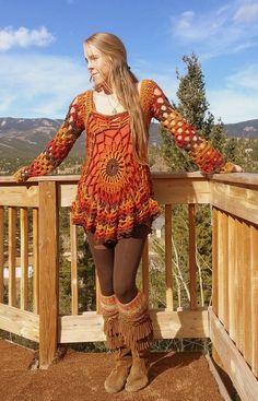 Bohemian crochet pullover/dress-autumn from aMandalaCreations on Etsy. Crochet Woman, Diy Crochet, Crochet Top, Hippie Crochet, Crochet Cover Up, Crochet Cardigan, Crochet Fashion, Crochet Clothes, Knitwear