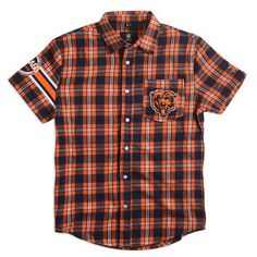 Chicago Bears Wordmark Short Sleeve Flannel Shirt by Klew