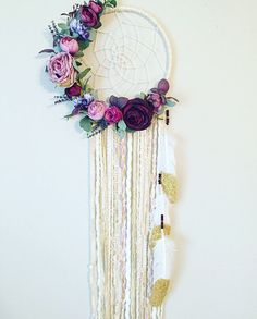 Floral Dream catcher Boho Chic Dreamcatcher by BlairBaileyDesign