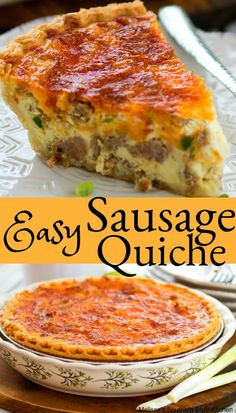 Easy Sausage Quiche sausagequiche quicherecipes brunch breakfast holdays holidaybaking easter christmas entertaining food recipes sausage is part of Breakfast quiche recipes - Sausage Breakfast, Breakfast Time, Breakfast Dishes, Breakfast Ideas, Recipes Using Breakfast Sausage, Breakfast Gravy, Overnight Breakfast, Breakfast Dessert, Vegan Breakfast