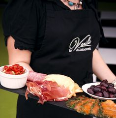 Antipasto slate with air dried ham, gravadlax smoked salmon, olives, sun blush tomatoes, cheeses & cured meats. Party Food - Wedding Food - Event Food - Slate Food - Grazing Board