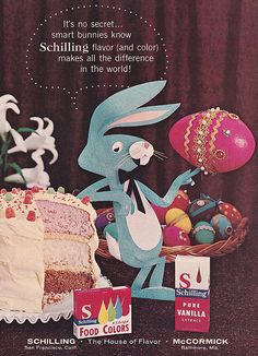 cutout bunny vintage food coloring ad (Schilling, - more vintage branding, positioned around a holiday, Marcie Fleischman Retro Advertising, Retro Ads, Vintage Advertisements, Vintage Ads, Vintage Food, Vintage Branding, Vintage Stuff, Vintage Images, Hoppy Easter