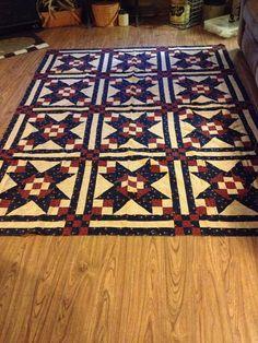 Americana primitive Quilt Top Handmade by TheOleCountryQuilt
