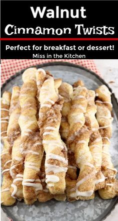 Walnut Cinnamon Twists are a delicious treat to serve for breakfast or dessert. All the flavors of a cinnamon roll in a light and fluffy bread twist with crunchy walnuts and a sweet drizzle of icing. Best Dessert Recipes, Brunch Recipes, Fun Desserts, Delicious Desserts, Breakfast Recipes, Winter Desserts, Christmas Desserts, Breakfast Ideas, Fall Recipes