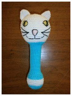 Crochet Babyrattle, Cat, Pattern made by me - Virkad Babyskallra, Katt, Eget mönster - Crocheted by Susanna