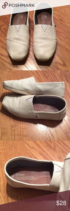 Toms Cream colored, faux leather, very good used condition. There is some of the threading coming up on the soles of the shoes.  Size is 7M but they fit big. I am a 7.5 and they are big on me. There was a lot of room at the toe. TOMS Shoes Flats & Loafers