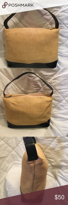 Authentic Vintage Furla Handbag In new condition.  Ecru material with patent leather trim.  Cloth lining with zippered pocket. Furla Bags Totes