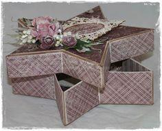 Gunns Papirpyssel, star box, stjerne eske, kort, card, papirbretting, paperfolding, papir, paper, 3D, Maja Design, scrapbooking, scrapping, Ett trykk
