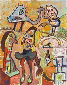 "lucebert, ""Mantua"", 1991 oil on canvas,145 x 115 cm"
