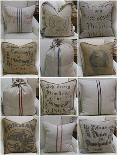were to get grain sack french linen fabrics, crafts, reupholster Burlap Sacks, Burlap Pillows, Throw Pillows, Hessian, Accent Pillows, Burlap Projects, Burlap Crafts, Drop Cloth Projects, Fabric Crafts
