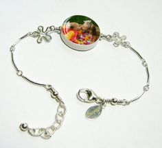 Sterling Splat Bracelet with a Round Charm by DelaneyPhotoJewelry, $89.00
