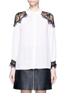 ALICE + OLIVIA - Rahmi lace shoulder blouse | White Blouses/Shirts Tops | Womenswear | Lane Crawford - Shop Designer Brands Online