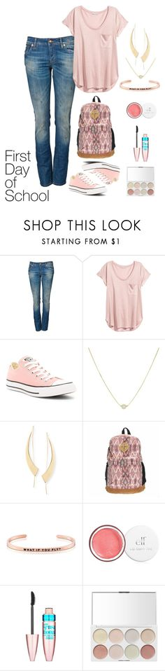 """""""School Days"""" by astrild15 ❤ liked on Polyvore featuring R13, H&M, Converse, Lana, MantraBand and Maybelline"""