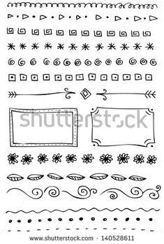 Hand-drawn line border set