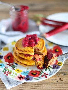 3 Ingredient Sweet Potato Pancakes With Roasted Berry Rhubarb Compote // Grain-Free, healthy, simple, and delicious pancakes perfect for Mother's Day Brunch // nutritionistinthekitch.com