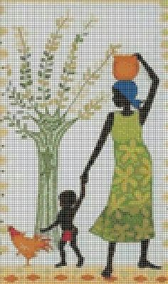 African lady with son Free Cross Stitch Charts, Mini Cross Stitch, Modern Cross Stitch Patterns, Cross Stitch Designs, Cross Stitching, Cross Stitch Embroidery, Cross Stitch Silhouette, African American Artwork, Africa Art