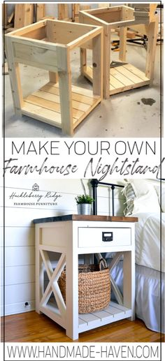 Farmhouse nightstand plans that will give your bedroom a Joanna Gaines farmhouse vibe. These free DIY nightstand plans are an easy step-by-step tutorial on how to recreate a farmhouse nightstand for your home. home crafts Farmhouse Nightstand Diy Furniture Projects, Diy Wood Projects, Furniture Plans, Furniture Makeover, Woodworking Projects, Rustic Furniture, Furniture Stores, Modern Furniture, Woodworking Plans