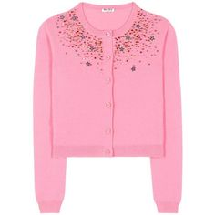 Miu Miu Embellished Cashmere Cardigan (10.769.565 IDR) ❤ liked on Polyvore featuring tops, cardigans, pink, cashmere top, miu miu, cashmere cardigan, pink top and embellished cashmere cardigan