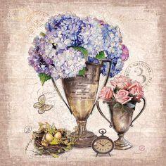 Vintage Estate Florals 3 Canvas Art - Chad Barrett x Images Vintage, Vintage Pictures, Vintage Cards, Art Floral, Chad Barrett, 3 Canvas Art, Art Carte, Decoupage Printables, Decoupage Paper